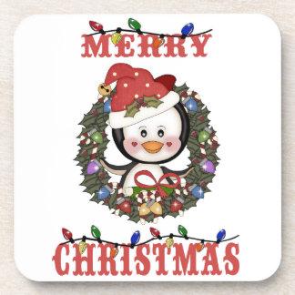 Merry Christmas Penguin Holiday Coaster Set (6)
