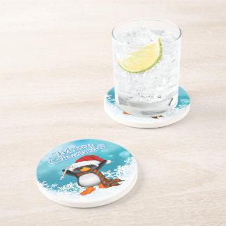Merry Christmas Penguin Sandstone Drink Coaster