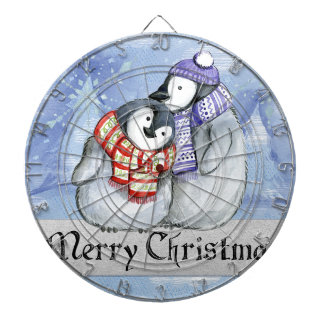 Merry Christmas Penguin Watercolor Card Winter Dartboard