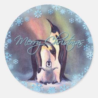 MERRY CHRISTMAS PENGUINS by SHARON SHARPE Round Sticker
