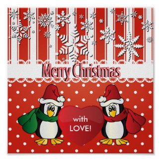 Merry Christmas Penguins with Love Poster