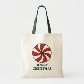 Merry Christmas Peppermint Mint Candy Cane Tote Budget Tote Bag