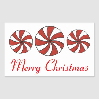 Merry Christmas Peppermint Starlight Mint Stickers