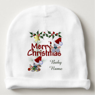 Merry Christmas Personalized Baby Beanie