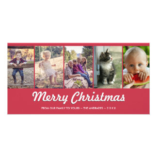 Merry Christmas Personalized Multi Photo Holiday Photo Greeting Card