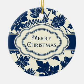 Merry Christmas Personalized Ornament Elegant Blue