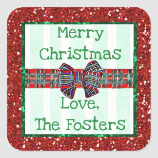 Merry Christmas Personalized Tartan Ribbon and Bow Square Sticker