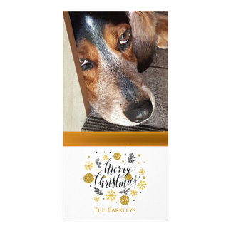 Merry Christmas Pet Photo Black Gold Card