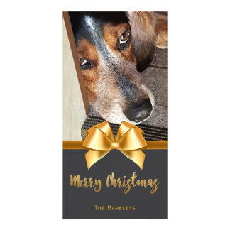 Merry Christmas Pet Photo Chalkboard Gold Bow Card