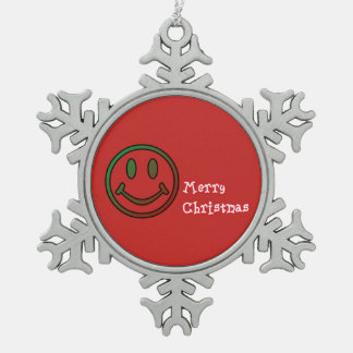 Merry Christmas Pewter Snowflake Ornament