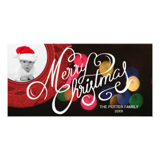 Merry Christmas Photo | Bokeh Elegant Holiday Red Card