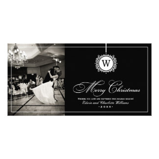 Merry Christmas Photo Card | Black White Monogram