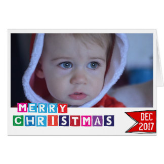 Merry Christmas photo card colorful typography