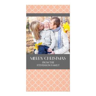 Merry Christmas Photo Card Coral Grey Quatrefoil