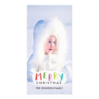 Merry Christmas Photo Card - Hand Lettered