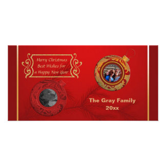 Merry Christmas Photo Card Happy New Year Red Gold