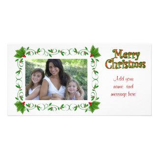 Merry Christmas photo card holly frame