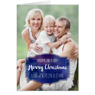 Merry Christmas Photo Card Navy Blue Watercolor