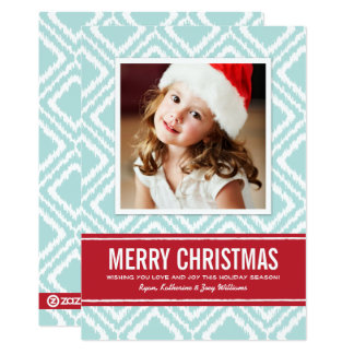 Merry Christmas Photo Card | Red and Blue Ikat