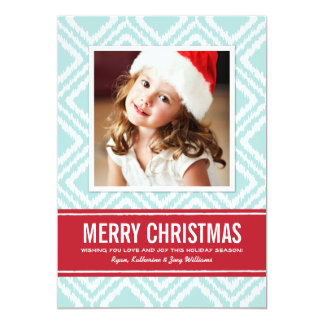 Merry Christmas Photo Card   Red and Blue Ikat