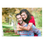 Merry Christmas Photo Card | Red Script Overlay Personalized Invites