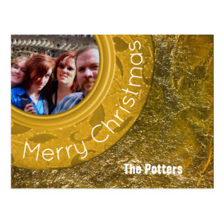 Merry Christmas Photo Card Shiny Faux Gold Foil