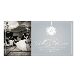 Merry Christmas Photo Card Silver Gray Monogram