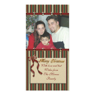 """""""Merry Christmas"""" photo card stripes and ribbons"""