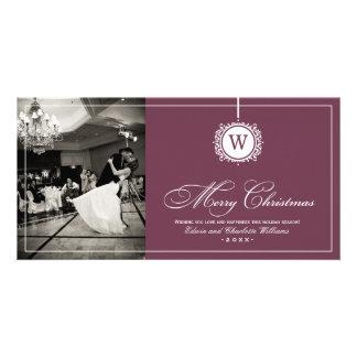 Merry Christmas Photo Card   Wine Red Monogram