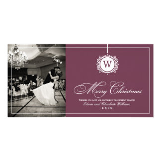Merry Christmas Photo Card Wine Red Monogram