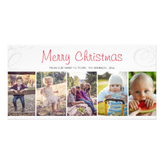 Merry Christmas Photo Collage Flat Holiday Custom Personalized Photo Card
