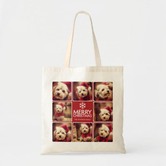 Merry Christmas Photo Collage Red White Budget Tote Bag