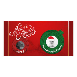 Merry Christmas Photo | Elegant Red Green Gold Card