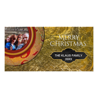 Merry Christmas Photo | Faux Gold Foil Red Card