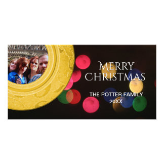 Merry Christmas Photo Gold Red Green Blue Bokeh Card