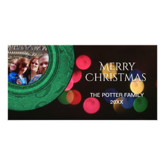Merry Christmas Photo Green Red Blue Gold Bokeh Card