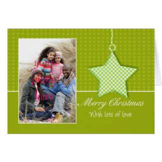 Merry Christmas Photo Greeting Card With Hanging S