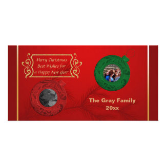 Merry Christmas Photo   Happy New Year Red Green Personalised Photo Card