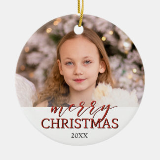 Merry Christmas photo ornament | red glittering