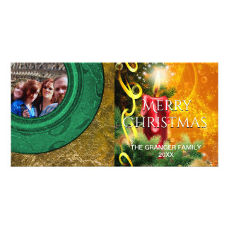 Merry Christmas Photo Red Green Gold Candle Card