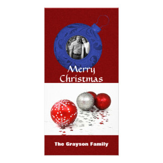 Merry Christmas Photo Red White Blue Glitter Photo Cards