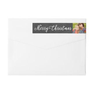 Merry Christmas | Photo Return Address Wraparound Return Address Label