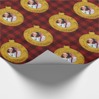 Merry Christmas Photo Rustic Buffalo Plaid Red Wrapping Paper