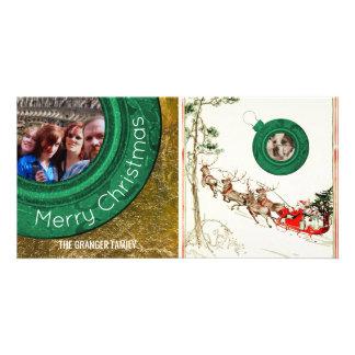Merry Christmas Photo Vintage Santa Reindeer Personalised Photo Card