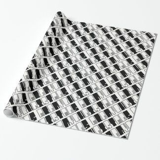 Merry Christmas Piano Keys Typography Black White Wrapping Paper