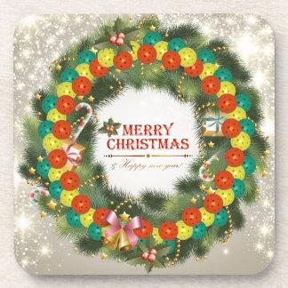 Merry Christmas Pickleball 1 Beverage Coasters