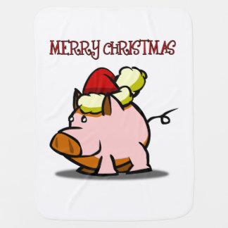 Merry Christmas Pig Baby Blanket