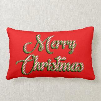 Merry Christmas pillow red white stripes green