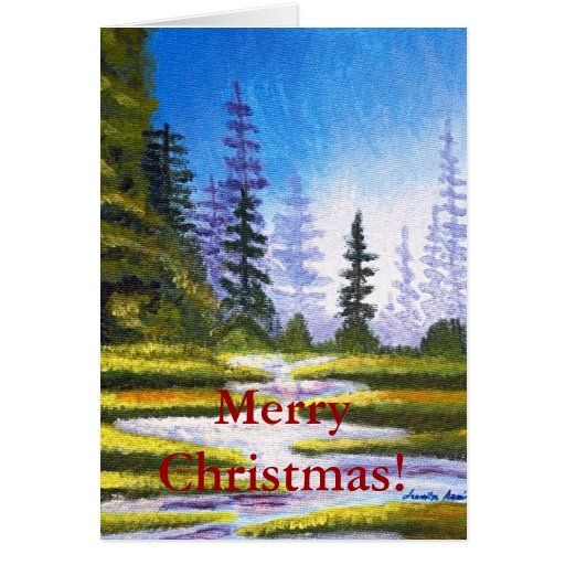 Merry Christmas Pine Forest Painting Greeting Card