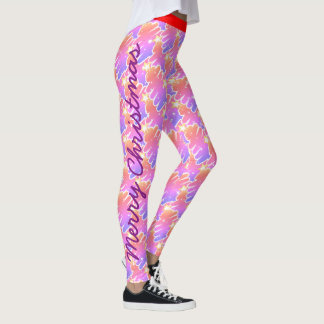Merry Christmas Pink Abstract Tree Leggings